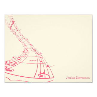Music Notes Flat Note Card (pink) 11 Cm X 14 Cm Invitation Card