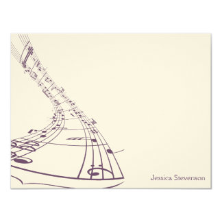 Music Notes Flat Note Card (purple) 11 Cm X 14 Cm Invitation Card