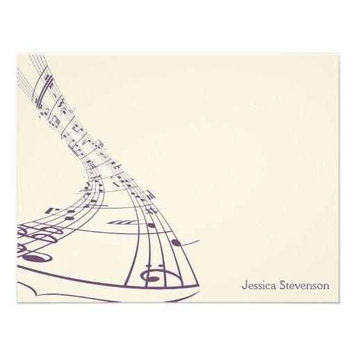 Music Notes Flat Note Card (purple) Custom Invites