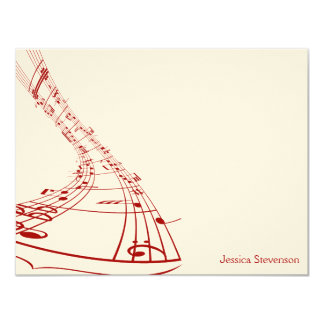 Music Notes Flat Note Card (red) 11 Cm X 14 Cm Invitation Card