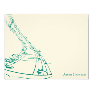 Music Notes Flat Note Card (teal) 11 Cm X 14 Cm Invitation Card
