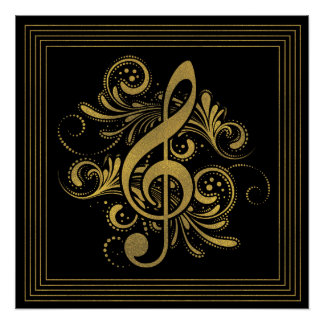 Music Notes Heart Shape in Gold Poster