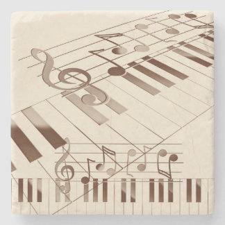Music notes illustration stone beverage coaster