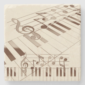 Music notes illustration stone coaster