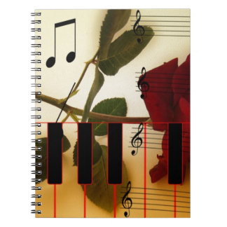 Music Notes Keyboard Red Rose Blossom Destiny Note Book