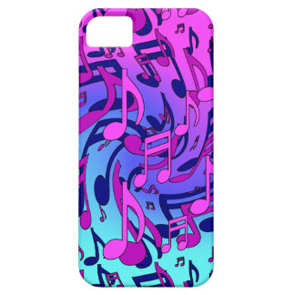 Music Notes Lively Pink Blue Aqua Musical Pattern iPhone 5 Cases