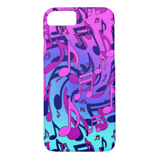 Music Notes Lively Pink Blue Aqua Musical Pattern iPhone 7 Case