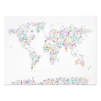 Music Notes Map of the World Photo Print
