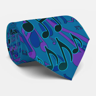 Music Notes Musical Pattern Blue Green Purple Tie