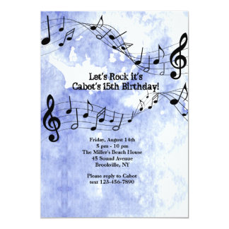 Music Notes On Blue Background 13 Cm X 18 Cm Invitation Card