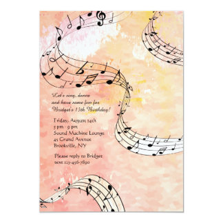 Music Notes On Coral Background 13 Cm X 18 Cm Invitation Card