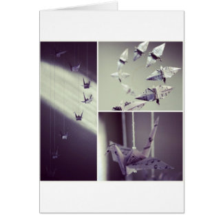 Music Notes Origami Crane Mobile Greeting Cards