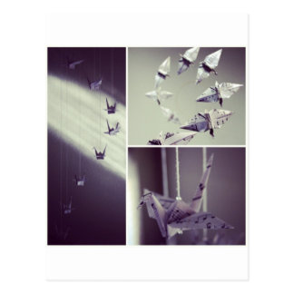 Music Notes Origami Crane Mobile Post Card