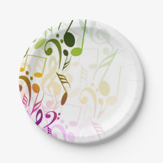 Music Notes Paper Plate 7 Inch Paper Plate