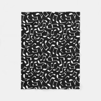 Music Notes Pattern Black and White Fleece Blanket
