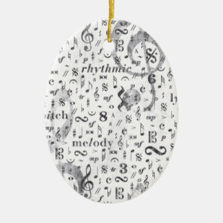 Music Notes Pattern Ceramic Ornament