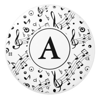 Music Notes Pattern Monogram Ceramic Knob