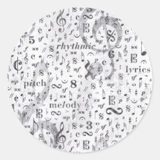 Music Notes Pattern Music Theme Classic Round Sticker