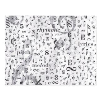 Music Notes Pattern Music Theme Postcard