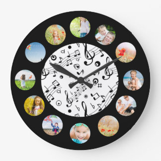 Music Notes Pattern Photo Collage Large Clock