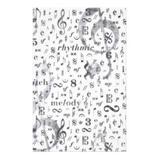 Music Notes Pattern Stationery