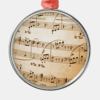 Music Notes peace joy Silver-Colored Round Decoration