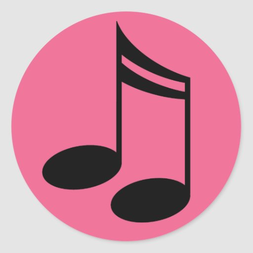 Music Notes Pink Round Stickers