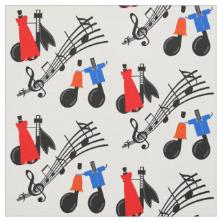 Music Notes Print Fabric