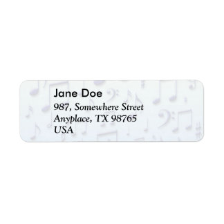 Music notes return address label