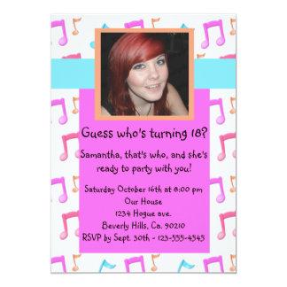 "Music Notes Rockin Birthday Party Add Photo 5"" X 7"" Invitation Card"