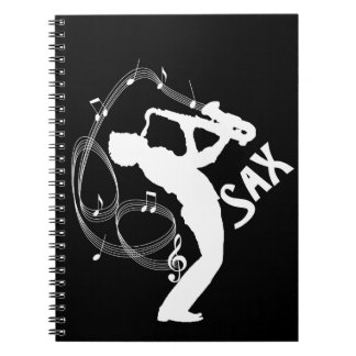 Music Notes Saxophone Player Musicians Notebook