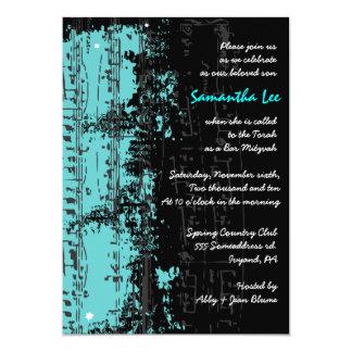 "Music Notes Stars Bar Mitzvah Invitation Teal 5"" X 7"" Invitation Card"