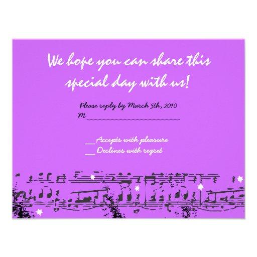 Music Notes Stars Bat Mitzvah Invitation REPLY