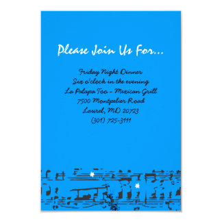Music Notes Stars Bat Mitzvah Party Reception Card 9 Cm X 13 Cm Invitation Card
