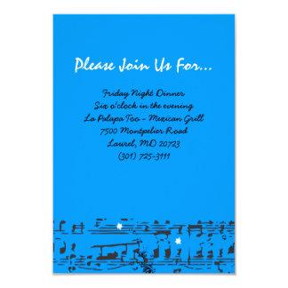 Music Notes Stars Bat Mitzvah Party Reception Card 9 Cm X 13 Cm Invitation Card