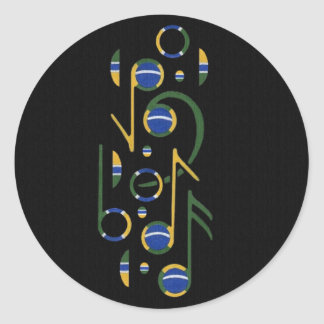 Music Notes Round Stickers