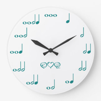 Music Notes - teal blue Wall Clock