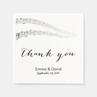 Music Notes Thank You Musical Wedding Disposable Napkins