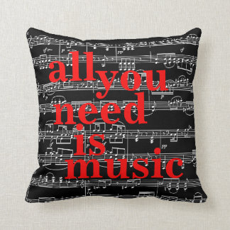 music notes themed decor cushion
