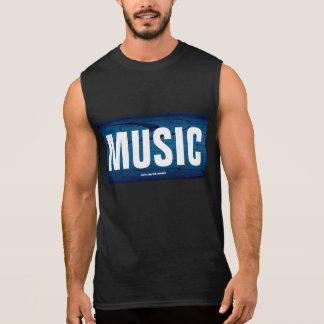 Music On Blue Sleeveless Shirts