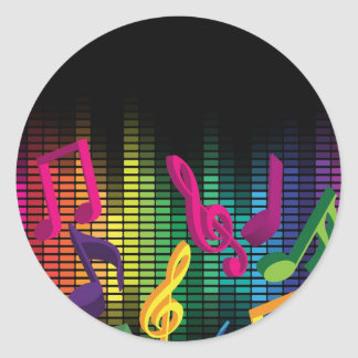 Music Party Background Classic Round Sticker
