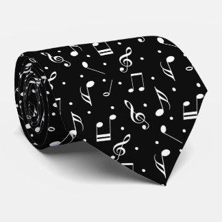 Music Pattern Classy Black & White Musical Tie