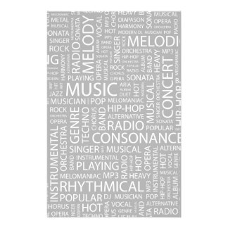 MUSIC pattern word cloud Personalised Stationery