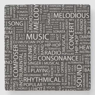 MUSIC pattern word cloud Stone Coaster