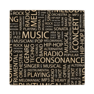 MUSIC pattern word cloud Maple Wood Coaster