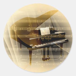 music_piano classic round sticker