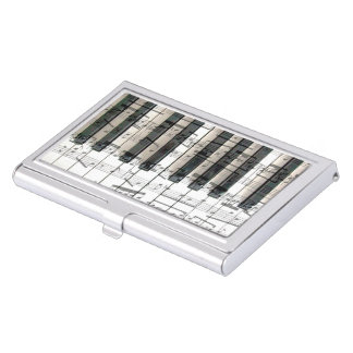 music piano keyboard business card case