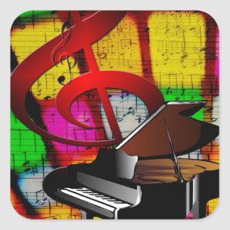 Music Piano Keys Notes Teacher Destiny Instruments Square Sticker