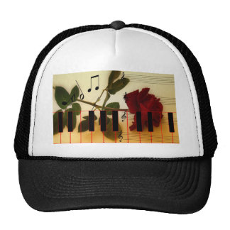 Music Piano Keys Notes Teacher Roses Instruments Mesh Hat