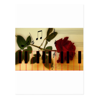Music Piano Keys Notes Teacher Roses Instruments Postcard